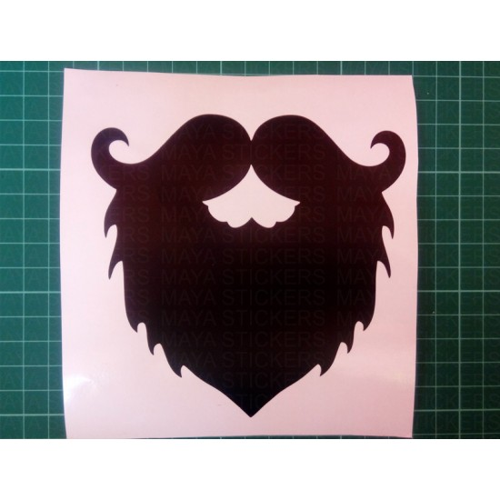 Beard And Mustache Stickers For Cars Bikes And Laptop