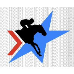 Jockey with horse racing logo sticker for cars, bikes and laptops