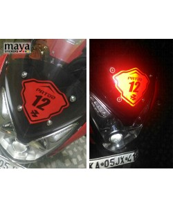 Custom Name and number sticker in reflective red on Pulsar AS200 visor