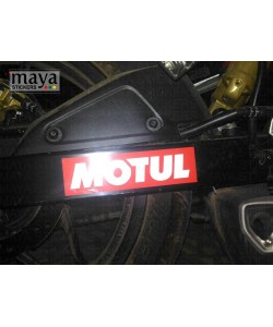 Motul logo sticker on pulsar as200  swing arm