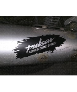 Bajaj pulsar adventure sport sticker applied on exhaust to cover scratch