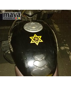 Om sticker on Bajaj pulsar tank