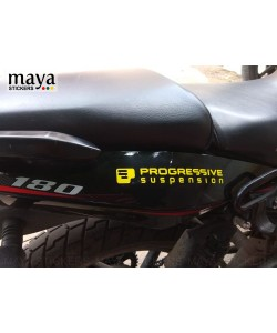 Progressive suspension logo stickering on bajaj pulsar 180