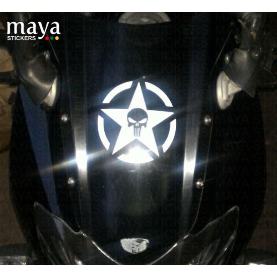 Skull in military star sticker