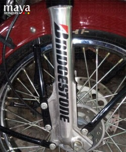 Bridgestone logo sticker on classic 350 fork
