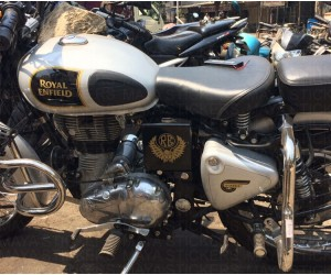 Eagle and RE sticker on ash white royal enfield classic 350 air filter box