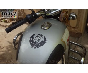 Eagle and RE sticker on classic 350 silver's tank