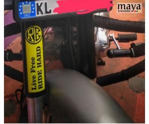 Live free ride hard bike stump sticker on RE classic 350 gun metal grey