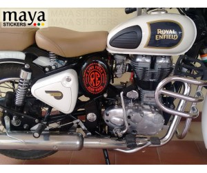 Live free ride hard oval sticker on classic 350 white side box