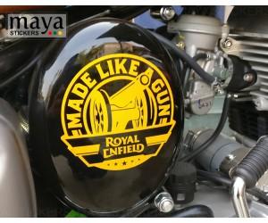 Made like a gun yellow sticker on royal enfield  classic 350 gunmetal grey