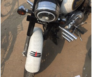 Mahadev tilak stickering on Royal Enfield ash white mudguard