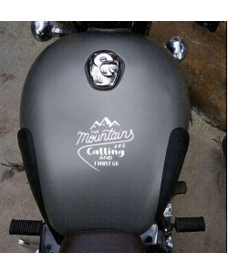 Mountains are calling, i must go sticker on royal enfield gun metal grey tank top