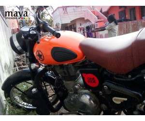 One ride sticker on modified royal enfield classic orange color