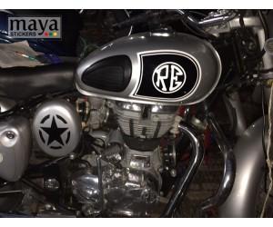 Custom petrol tank sticker on royal enfield classic silver
