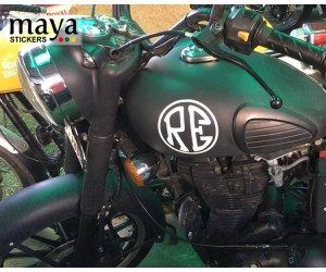 RE tank logo side stickers on customized royal enfield