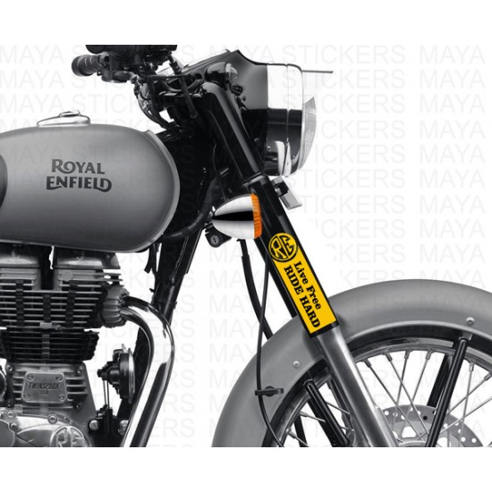 Live free ride hard bike fork stickers for Royal Enfield bikes