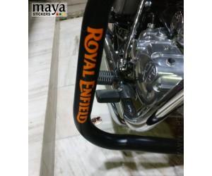 Royal enfield logo sticker on crash guard