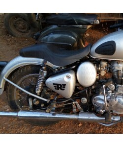 Royal enfield R logo sticker on Royal Enfield classic 350 silver tool box