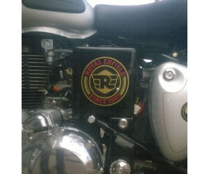 Royal enfield since 1901 logo stickering on classic 350 silver toolbox