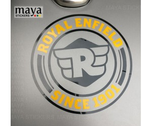 Royal enfield since 1901 logo sticker on classic 350 gunmetal grey tank top