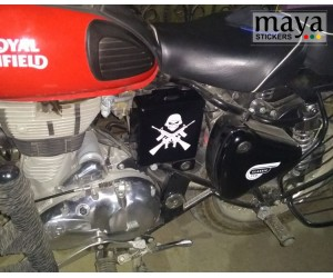 Skull and Gun sticker on Royal enfield classic 350 redditch red battery box