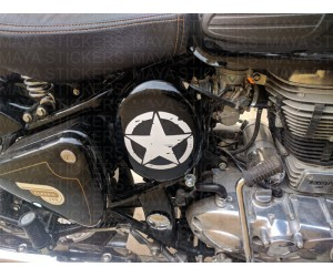 Distressed star sticker on Royal enfield  oval side box