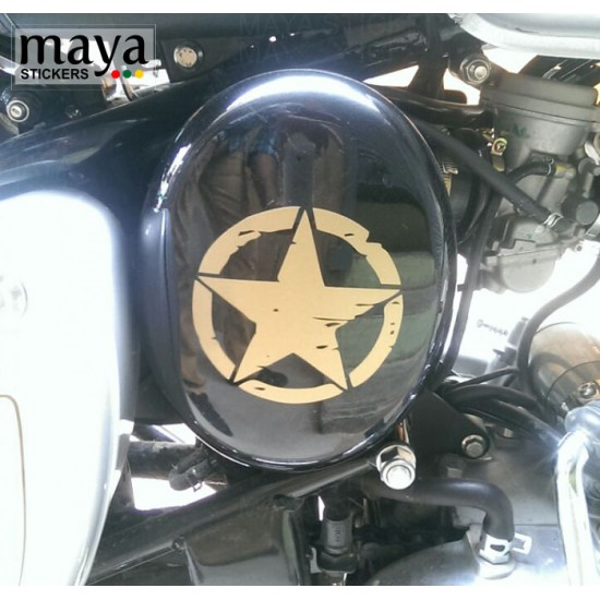 Star sticker in Distressed style with scratches design in custom colors and sizes