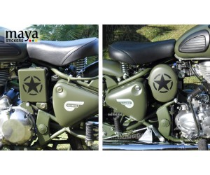 Military style star sticker on battle green royal enfield classic 500