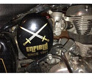 Crossed sword since 1901 design sticker on royal enfield classic 350 black