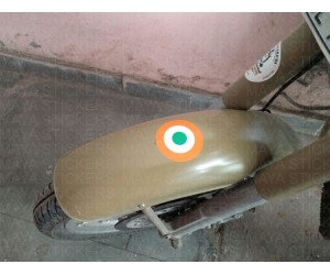 Indian Air force sticker on royal enfield desert storm front mudguard