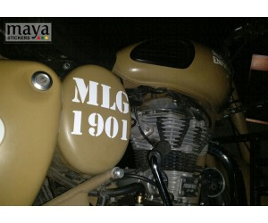 MLG 1901 round box sticker for Royal Enfield desert storm