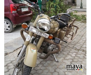 Moustache sticker on royal enfield desert storm's headlight