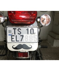 Moustache sticker on Royal enfield back number plate