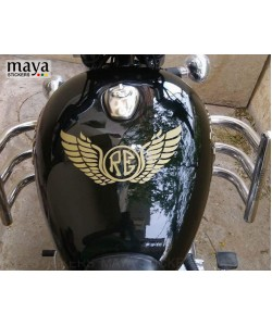 RE logo with wings sticker on Royal Enfield electra tank top