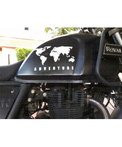 World map adventure sticker on Himalayan fuel tank