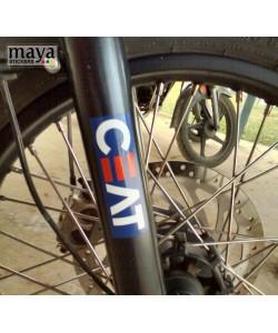 Ceat tyres logo sticke on royal enfield himalayan stump