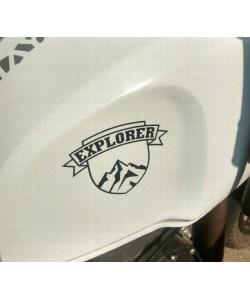 Explorer tank sticker on white royal enfield himalayan tank
