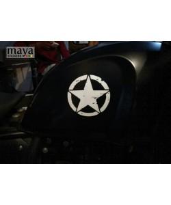 Star sticker on black royal enfield himalayan tank