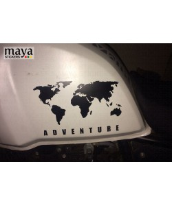 World map adventure sticker on white royal enfield himalayan fuel tank