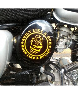 Built like a gun sticker for royal enfield oval box
