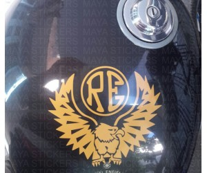 Eagle sticker on Royal Enfield thunderbird tank