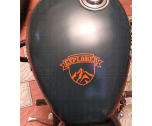 Orange Explorer sticker on royal enfield thunderbird fuel tank