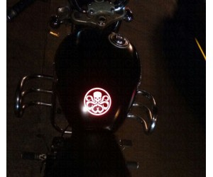 Hydra avengers logo decal sticker in reflective red on royal enfield thunderbird