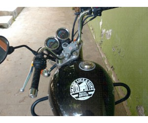 Made like a Gun sticker on Royal Enfield Thunderbird Tank