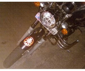 octopus hydra sticker on royal enfield thunderbird mudguard
