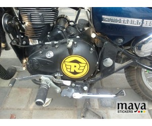 New logo sticker on royal enfield thunderbird engine