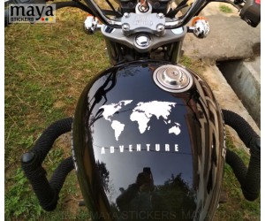 world map adventure sticker on royal enfield thunderbird tank top