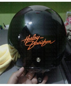 Harley davidson cursive logo sticker on helmet