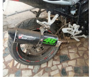 Valentino Rossi 46 Project sticker on Hyosung GT250R exhaust