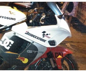 Bridgestone logo sticker on Hyosung GT250R